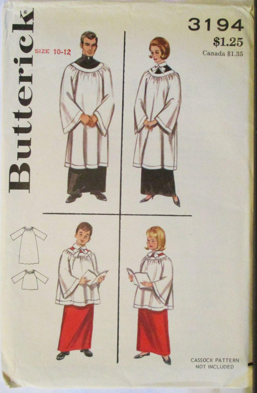 Vintage Sewing Pattern 1960s Butterick 3194 Children\'s Choir Robes ...