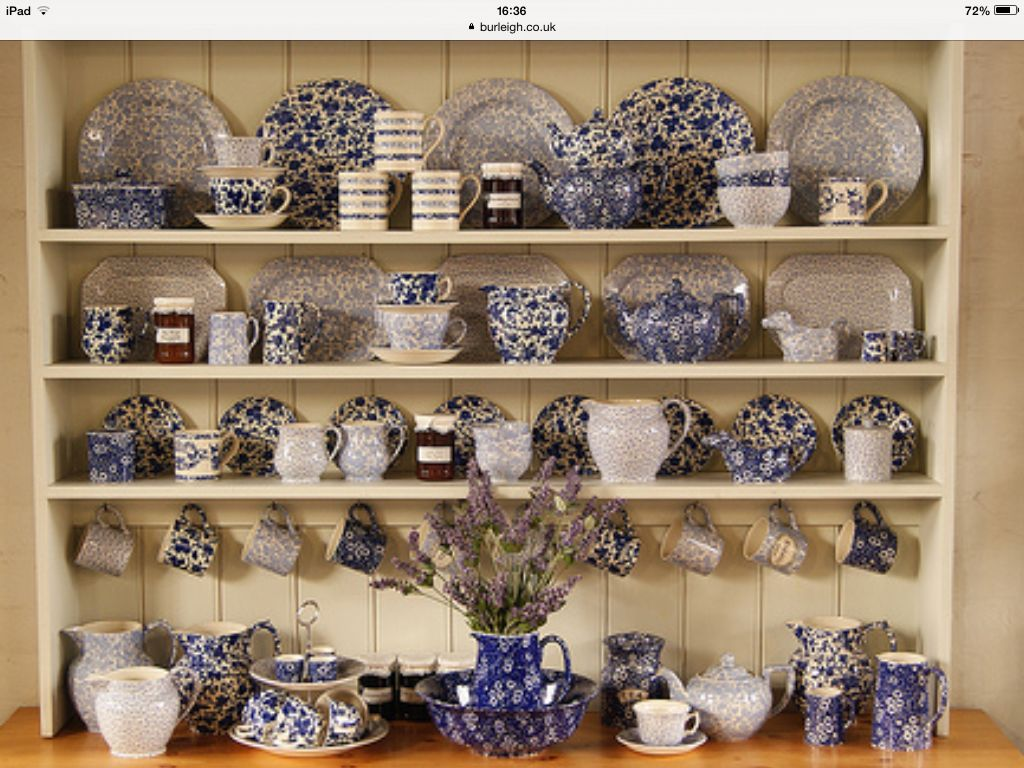 Burleigh Pottery on an English dresser. The pottery is in Stoke ...