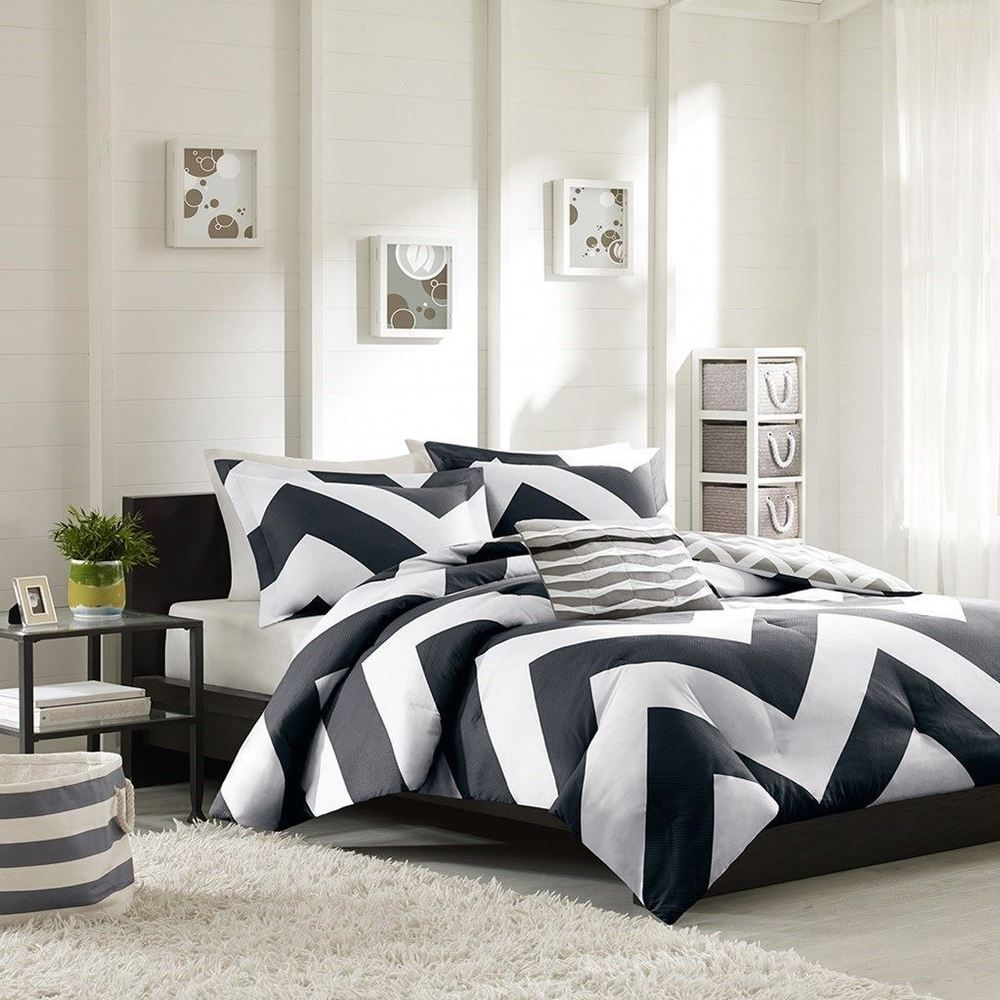 Elegant Black White Grey Chevron Duvet Cover Bedding Set Decorative Pillow Mizone