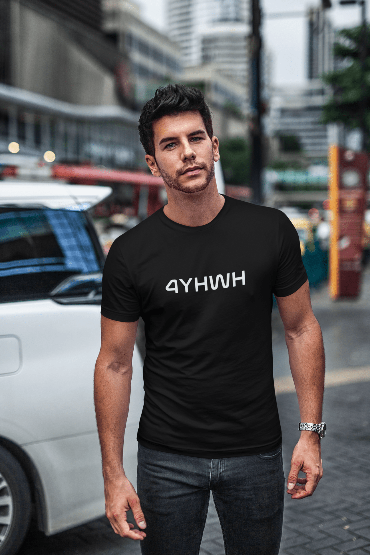 Black 4YHWH Christian Unisex TShirt Funny shirts for