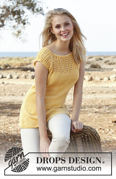 """Knitted DROPS top with raglan, short sleeves and lace pattern in """"Muskat"""".  Free pattern by DROPS Design."""