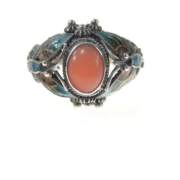 Sterling Silver Coral Statement Ring Enameled Butterfly ($145) ❤ liked on Polyvore featuring jewelry, rings, accessories, sterling silver butterfly jewelry, tri color ring, enamel rings, sterling silver filigree rings and cocktail rings