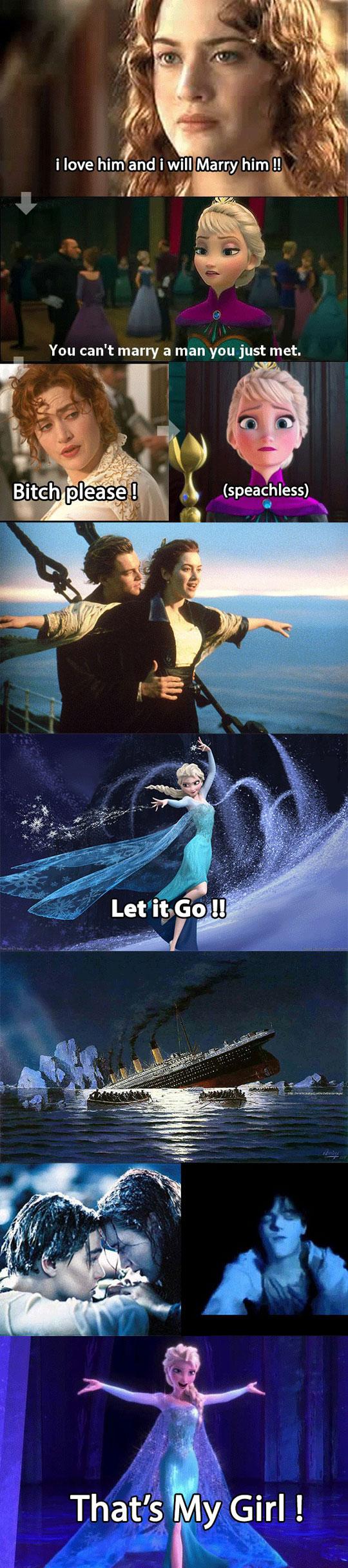 Elsa Joins Titanic Funny Pictures Hilarious Titanic