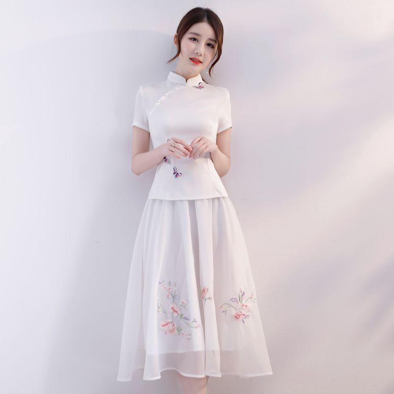 79784e338 2018 white Summer Womens Blouse Skirt 2pc Sets Traditional Chinese style  Shirt Suit Mandarin Collar Cheongsam Qipao Dress S-XXL