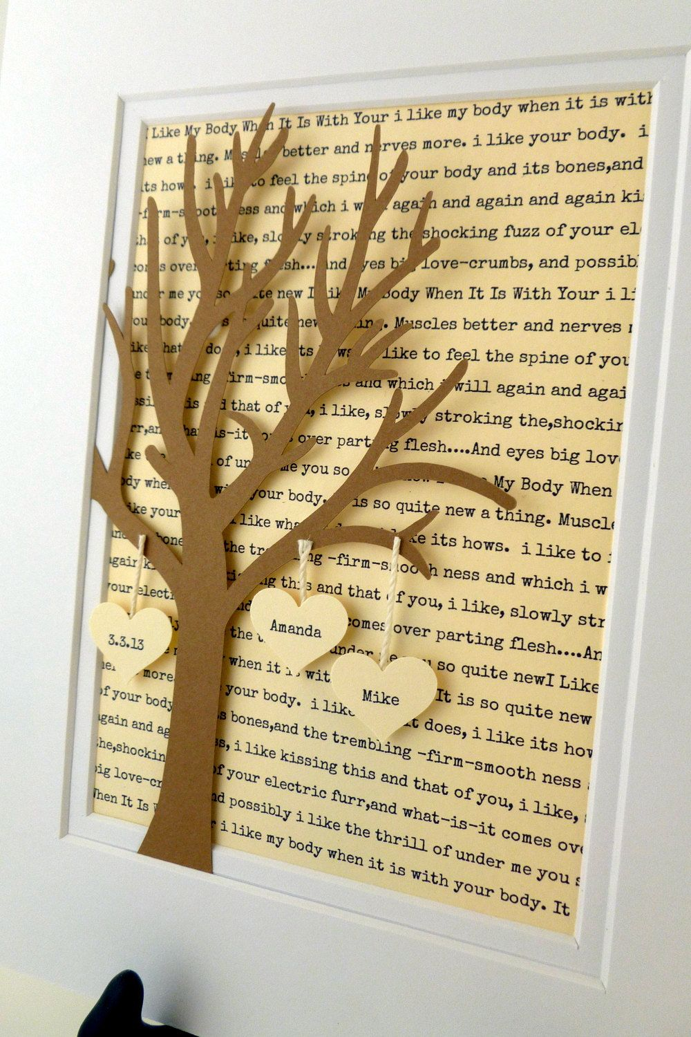 Personalized Wedding or Anniversary Gift, 3D Paper Tree