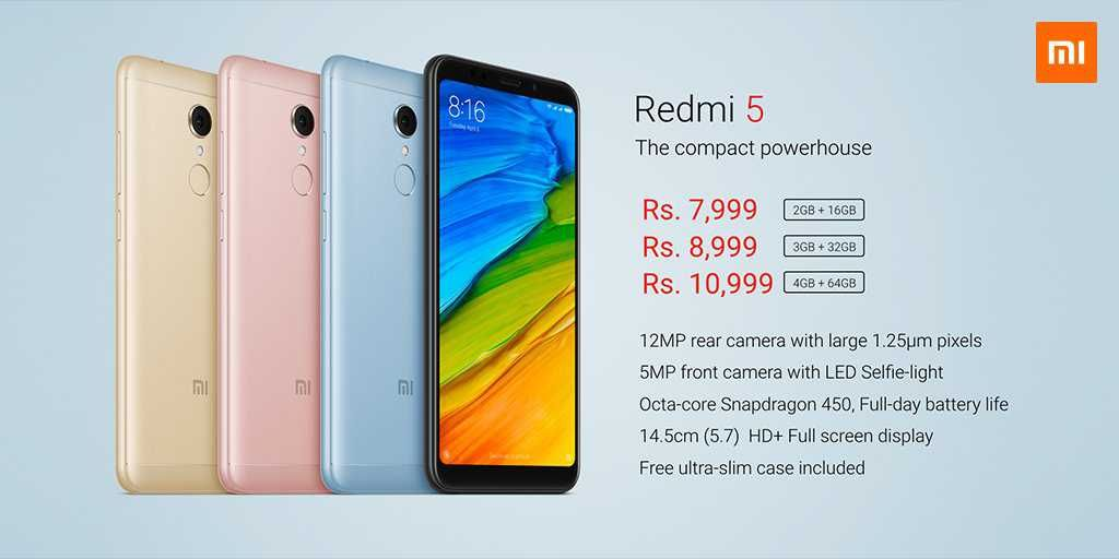 Xiaomi Redmi 5 With 2gb 3gb 4gb Ram Launched In India Starting