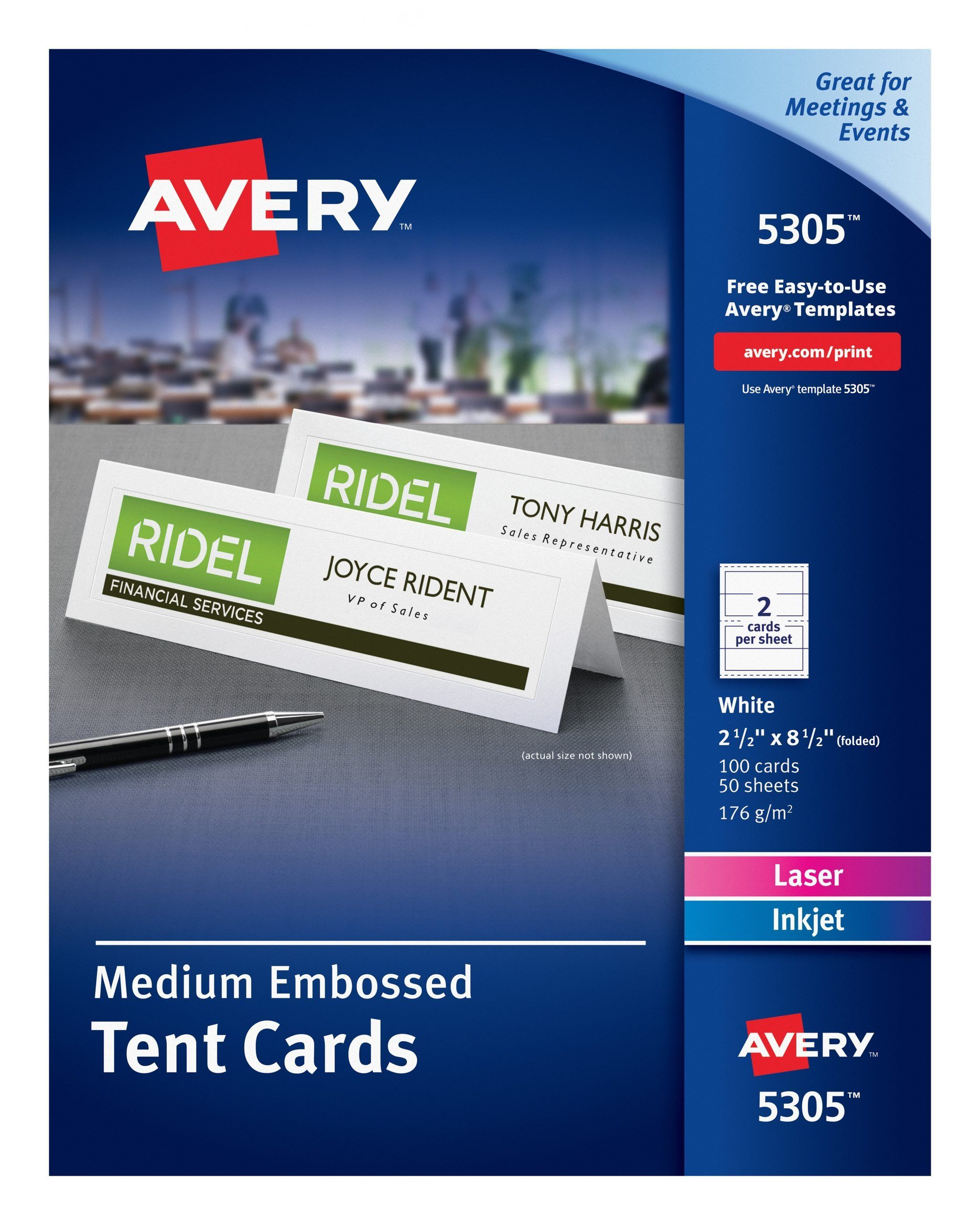 Staples Tent Cards Templates Awesome Avery Printable Tent Cards Embossed Uncoated Two Sided Printing 2 1 2 X 8 In 2020 Tent Cards Avery Printable Place Card Template