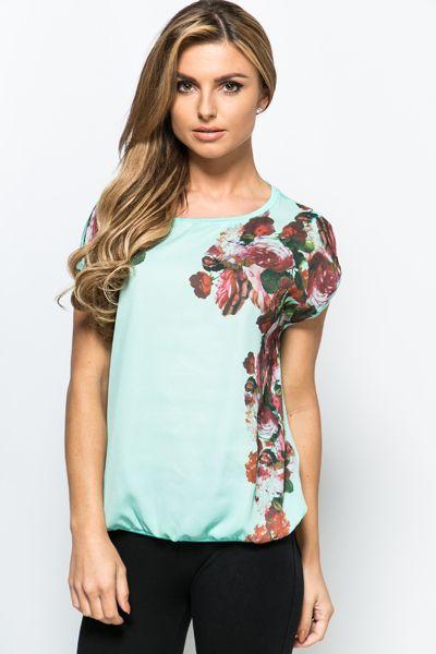 Floral Side Print Top