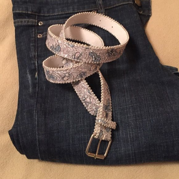 """43"""" blue, silver and white glitter belt 43"""" blue, white and silver belt. Measurement includes the buckle. Belt is 1"""" wide. Accessories Belts"""