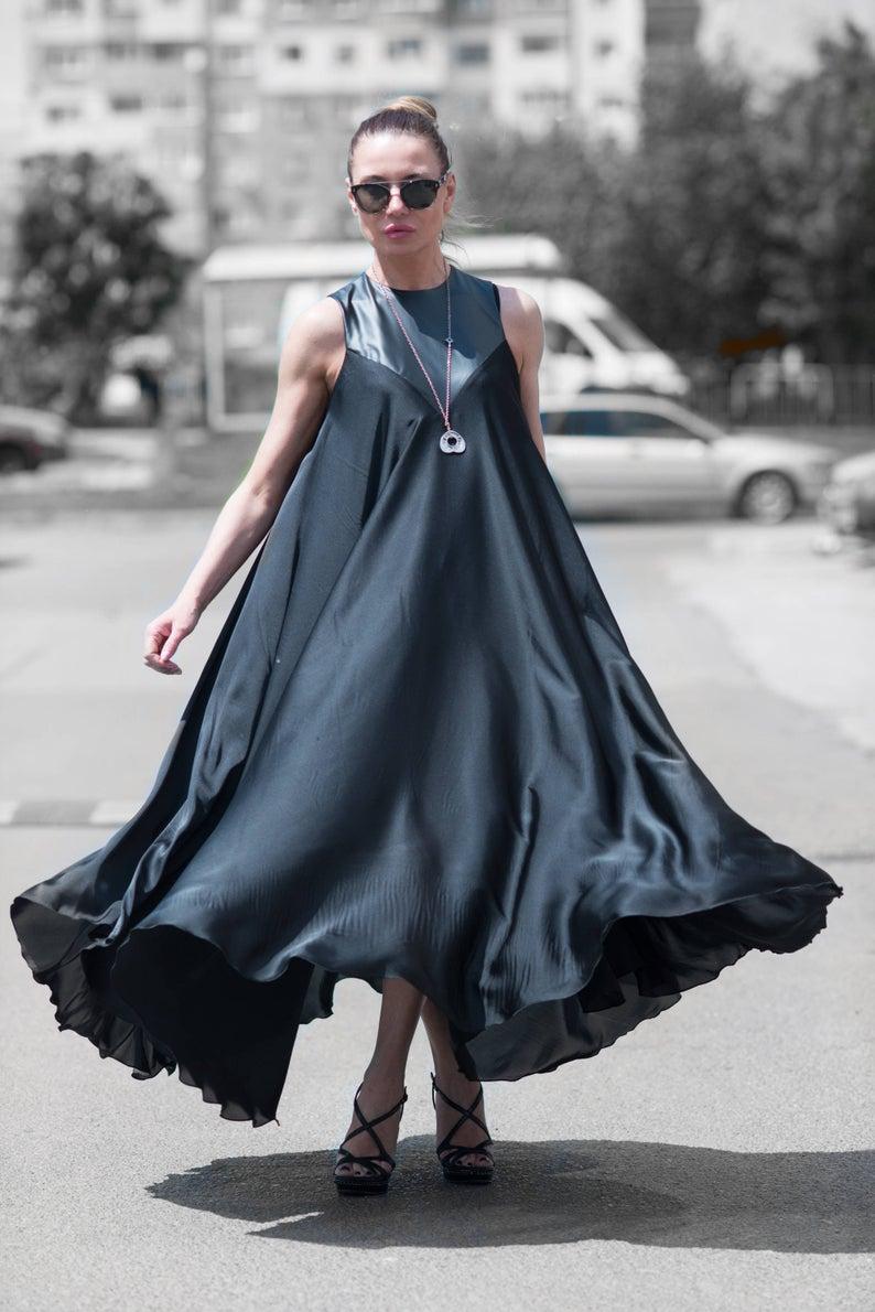 Black Satin Dress Plus Size Clothing Loose Maxi Dress Etsy Eug Fashion Summer Evening Dress Black Satin Dress [ 1190 x 794 Pixel ]