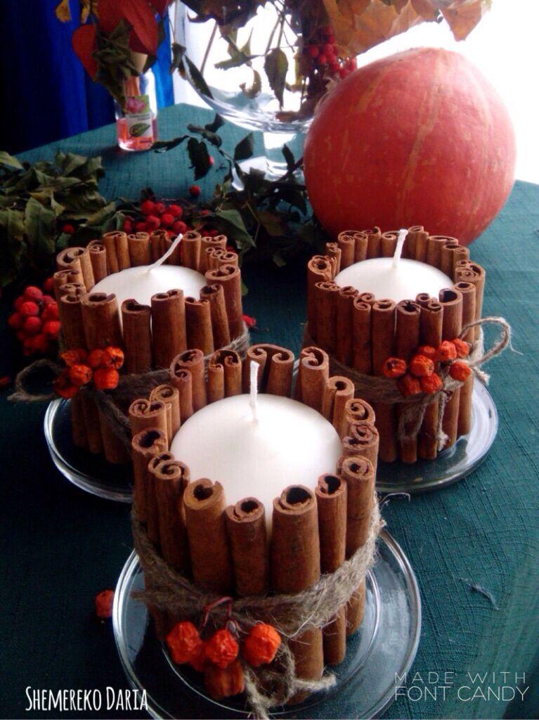 Декор Интересное решение для украшения дома осенью. Свечи своими руками, просто и красиво:)  Корица в палочках Веревка для связывания Свеча hand made autumn decor