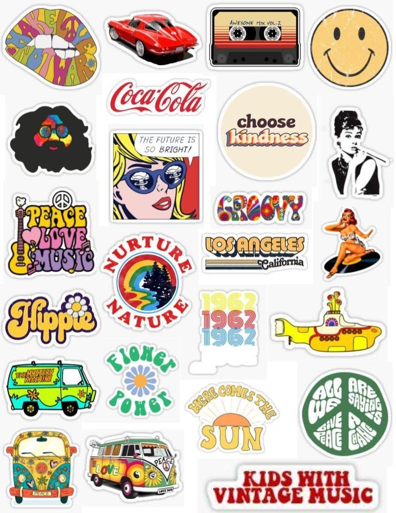 1960s Retro Hippie Planner Stickers