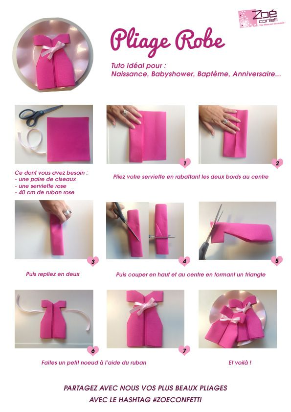 Pliage Serviette En Forme De Robe Babyshower Rose Tuto Diy Pliage Serviette Pliage Serviette Papier Pliage