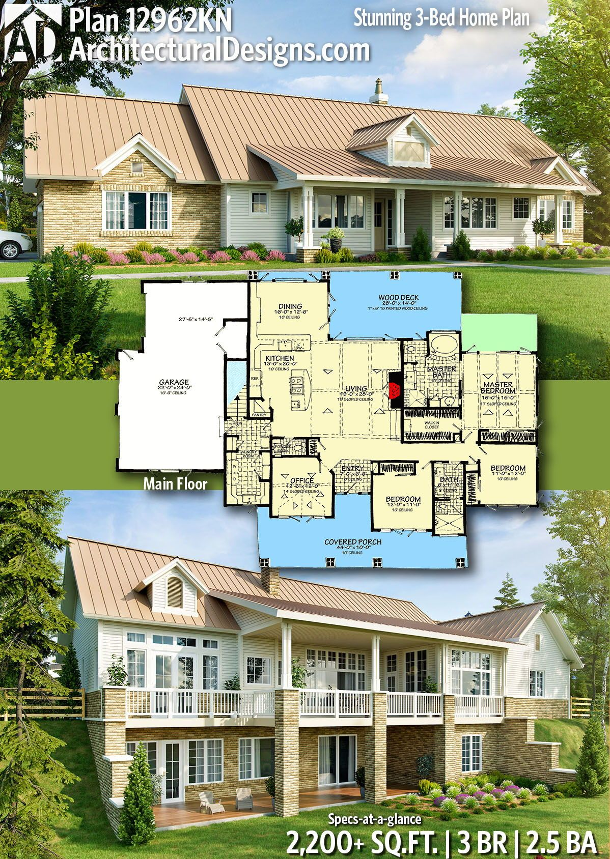 Plan 12962kn Stunning 3 Bed Home Plan With Dramatic Rear Elevation House Plans Architecture Design Building Design