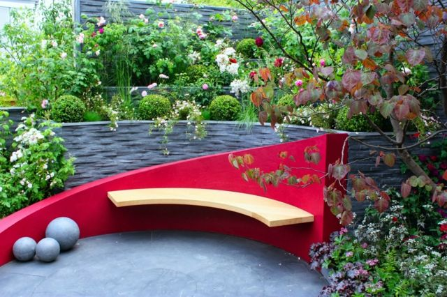 rote Farbe Holz Deko Ideen modern originell | Benches | Pinterest ...