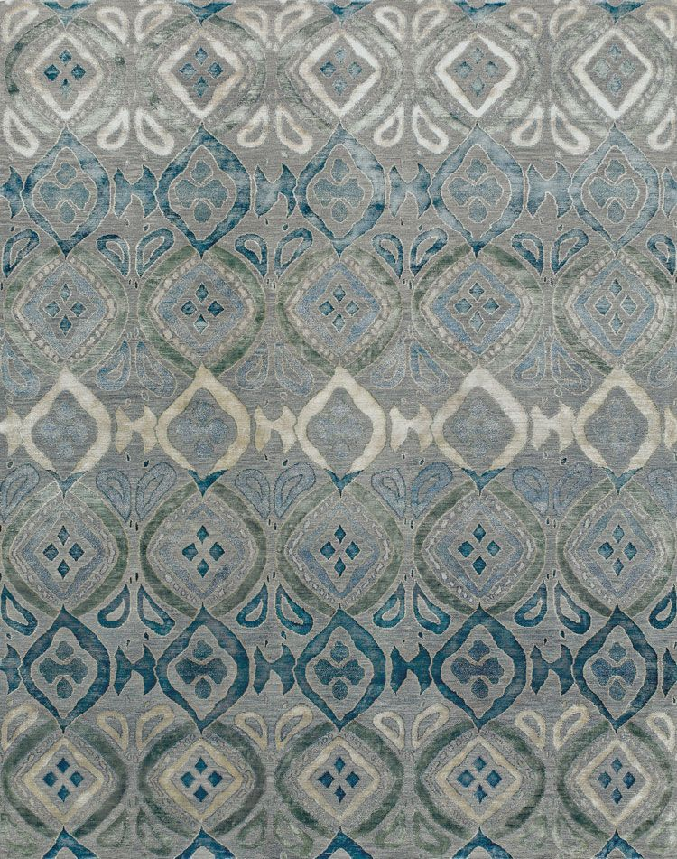 Area Rug New Moon Rugs Bali Grey Blue Aria Silk Reserve Hand Knotted Blend Of Tibetan Wool Chinese And Natural Nettle Fibers