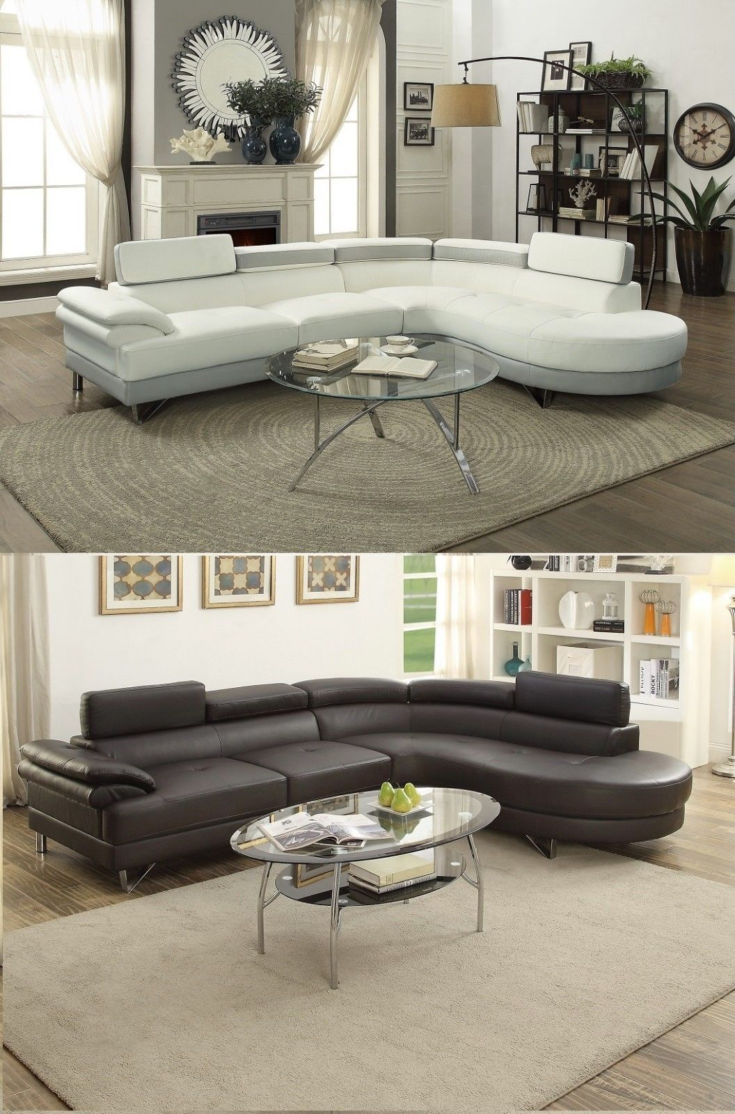 999.99   Classic Living Room 2pcs-Sectional Sofa Chaise Adjustable ...