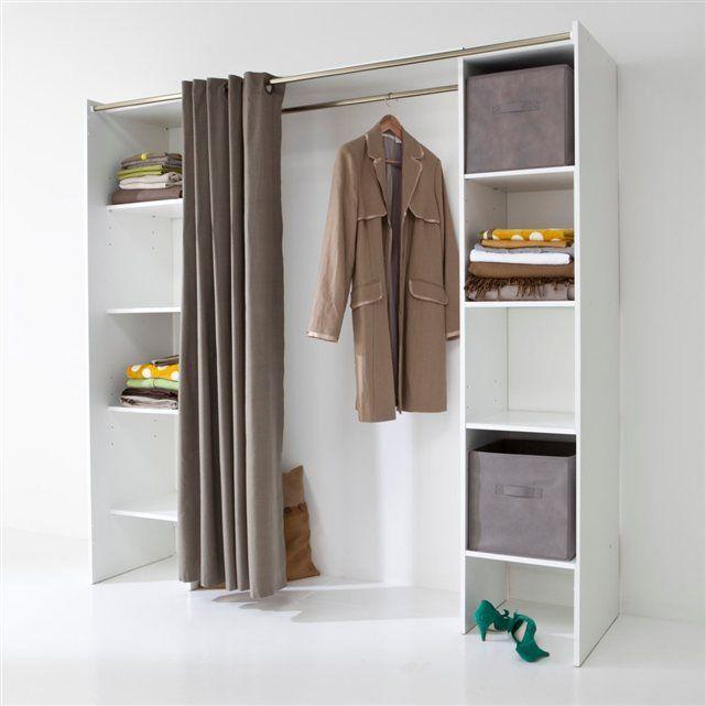 dressing complet extensible 1 penderie 2 colonnes 4 tag res coloris blanc ethan la redoute. Black Bedroom Furniture Sets. Home Design Ideas