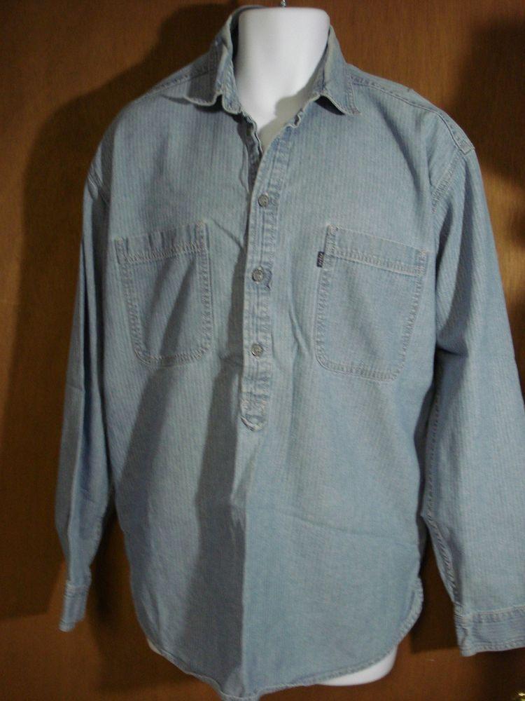 Vintage Levi Denim Long Sleeve Half-Button Down Shirt-Men's LARGE ...