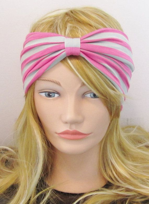 Pink and Gray Striped Wide Yoga Headband  by DaisysDesignsCo, $15.00