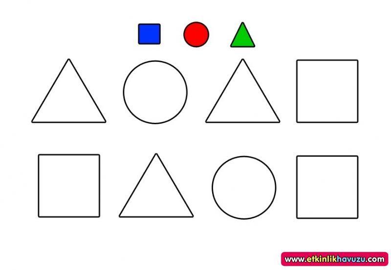 Geometrik şekiller Boyama Ile Ilgili Görsel Sonucu 3 Yaş Boyama