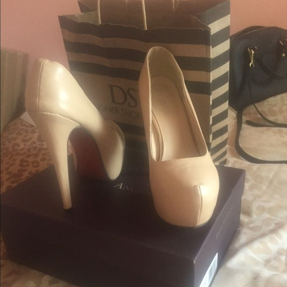 Share me please  Beige red bottom heels Good condition. ✔️ Share please ✔️ Shoes Heels