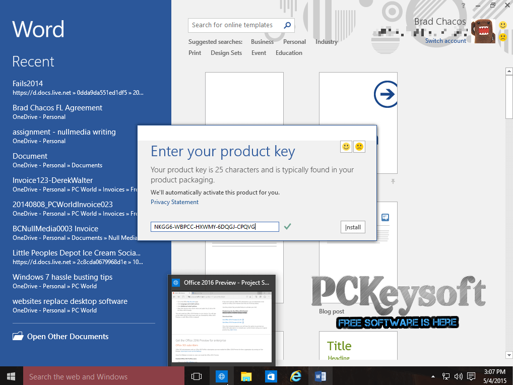 office 365 personal product key