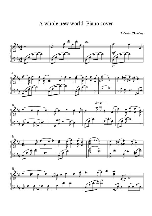 A Whole New World Piano Cover Piano Sheet Music And Chord Info In