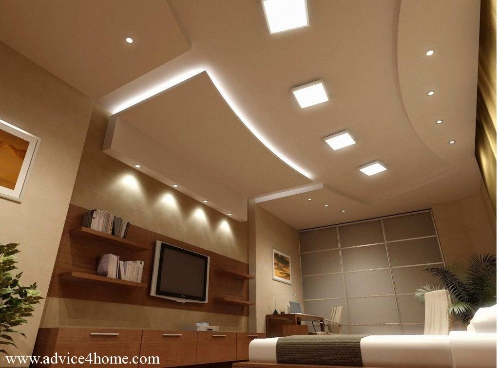 False ceiling design and tv wall design with shelves in for Wall ceiling pop designs