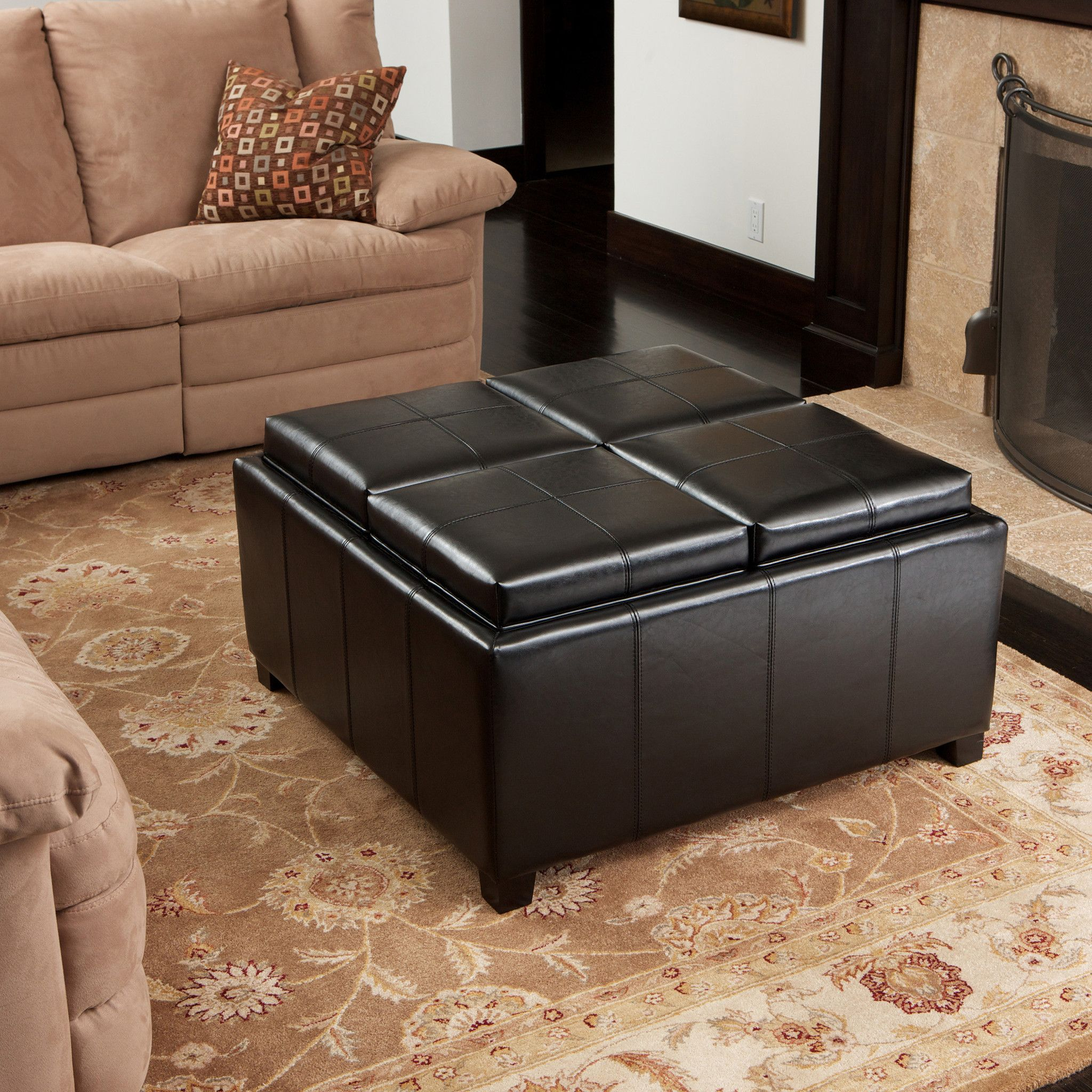 Harley leather black 4tray top storage ottoman storage