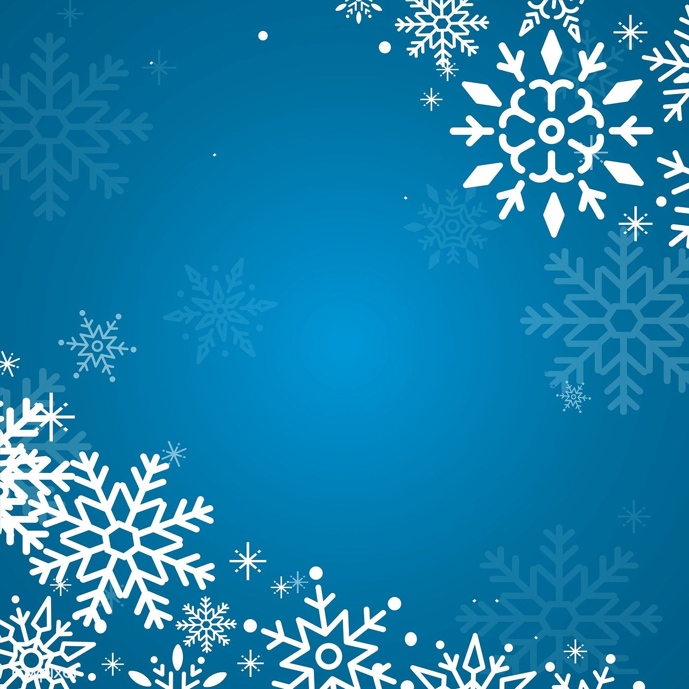 Blue Christmas winter holiday background with snowflake
