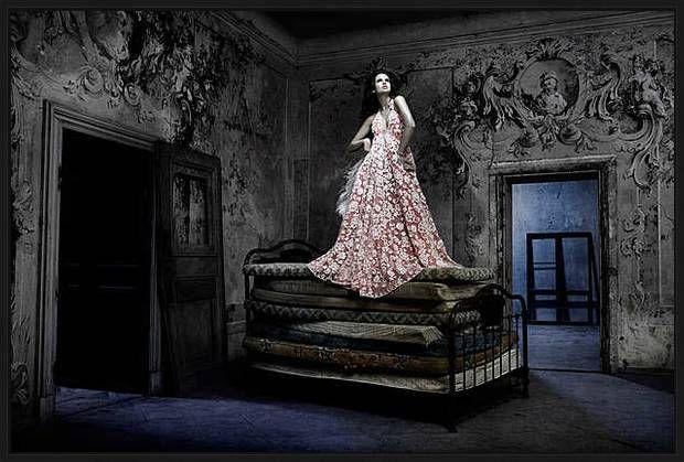 Kai Stuht, Hauteur, 2007 / 2008 © www.lumas.com/ #Bed #Beds #dark #Decay #decayed #Dress #Dresses #elegant #Fairytale #Fashion #grey #Interior #Interiors #mural #painting #Mysterious #NarrativePhotography #Stucco #PrincessAndThePea #Princess #Villa #Villas #wall #painting #Woman #Women #Lumas