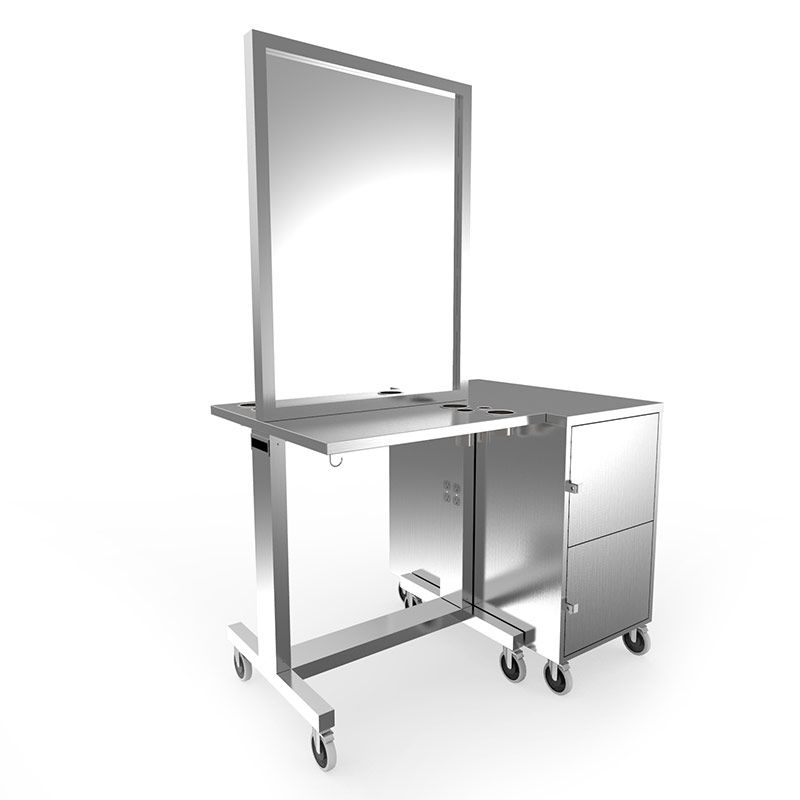 Av 128 ss stainless steel double styling station for Salon furniture makeup station