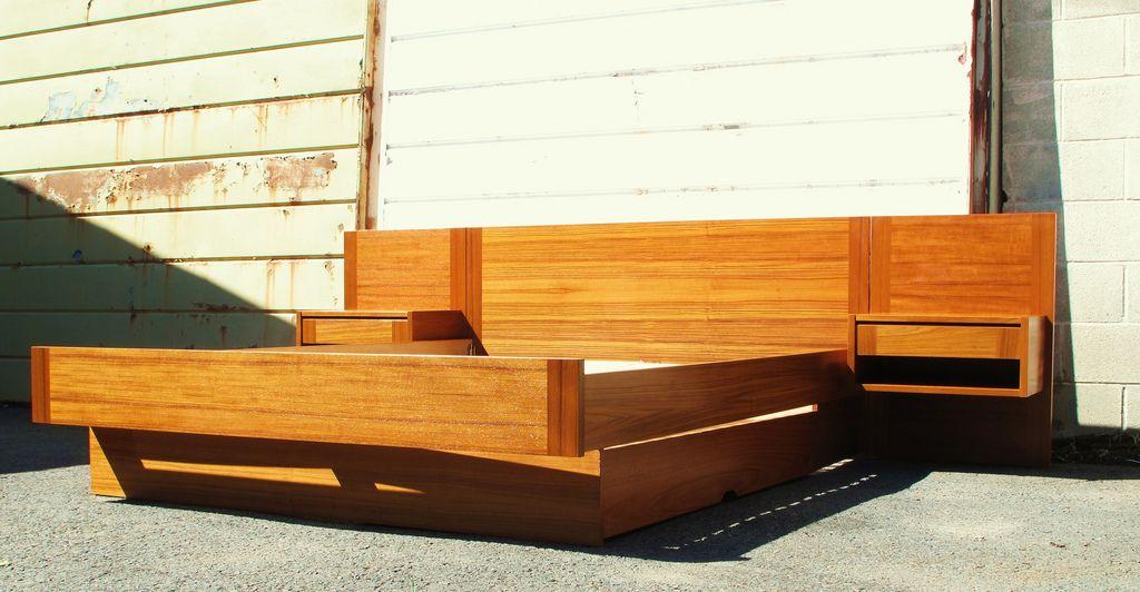 Danish modern Teak platform bed with floating nightstands | My