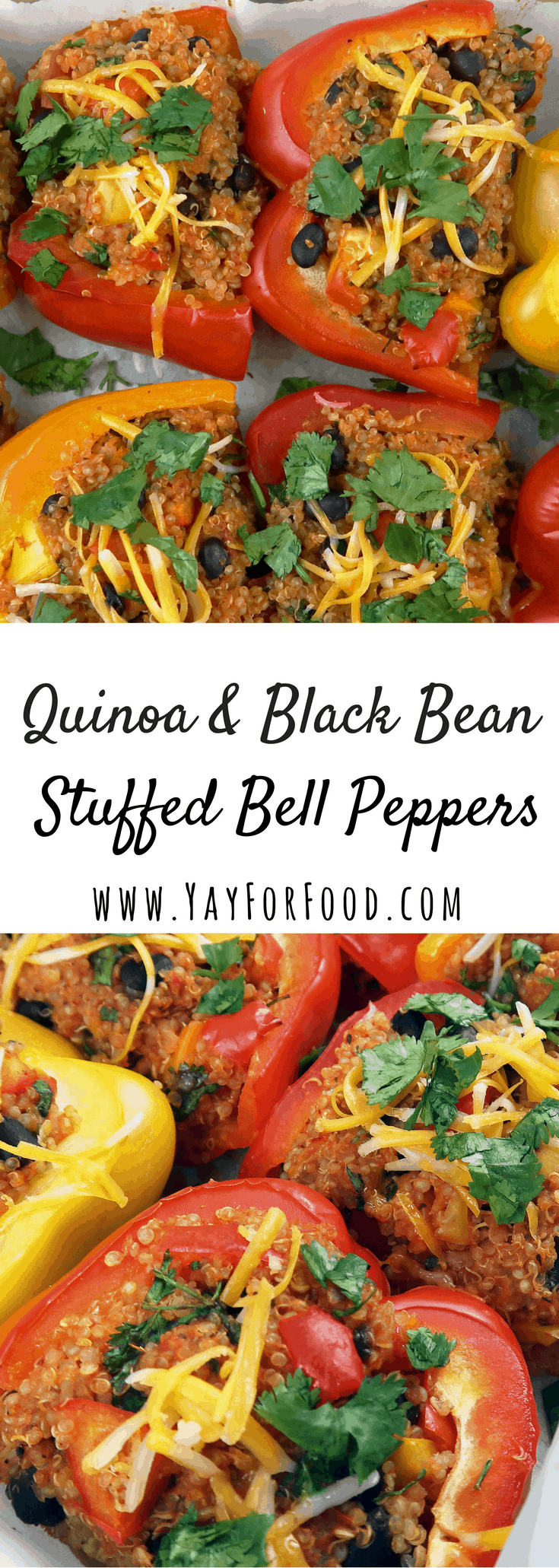 Quinoa and Black Bean Stuffed Bell Peppers #stuffedbellpeppers