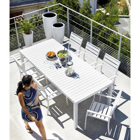 Poltrona bianca da giardino in alluminio Portofino | Maisons du Monde