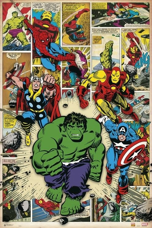 Marvel Comic Here Come The Heroes Poster Print (24 x 36)