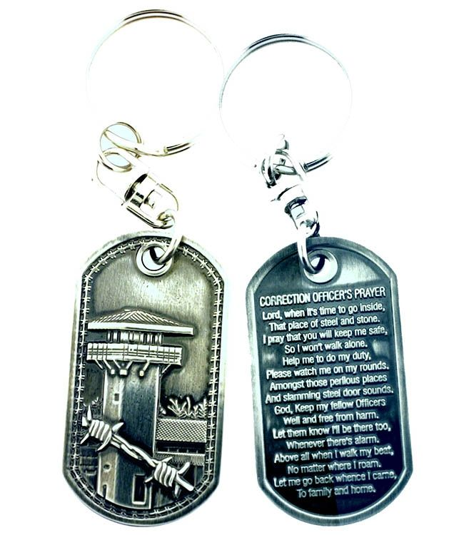 Correction OfficerS Prayer Brushed Steel Keychain  Steel