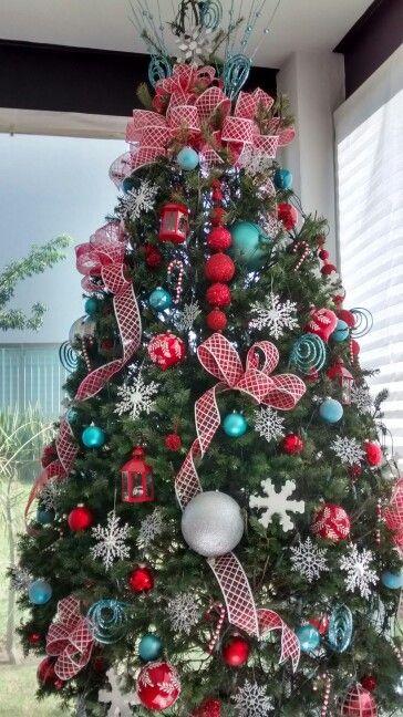 Rbol de navidad rojo azul y plata varios - Decoracion para arboles navidenos ...
