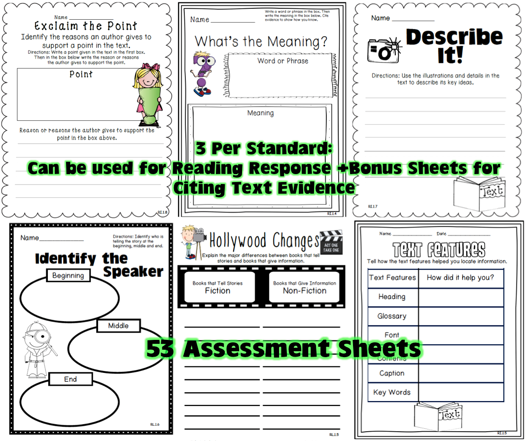 1st Grade Common Core Tools For Close Reading Assessment Amp Reading Response
