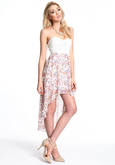 Lace Floral Print High Low Dress, TAUPE,$ 24