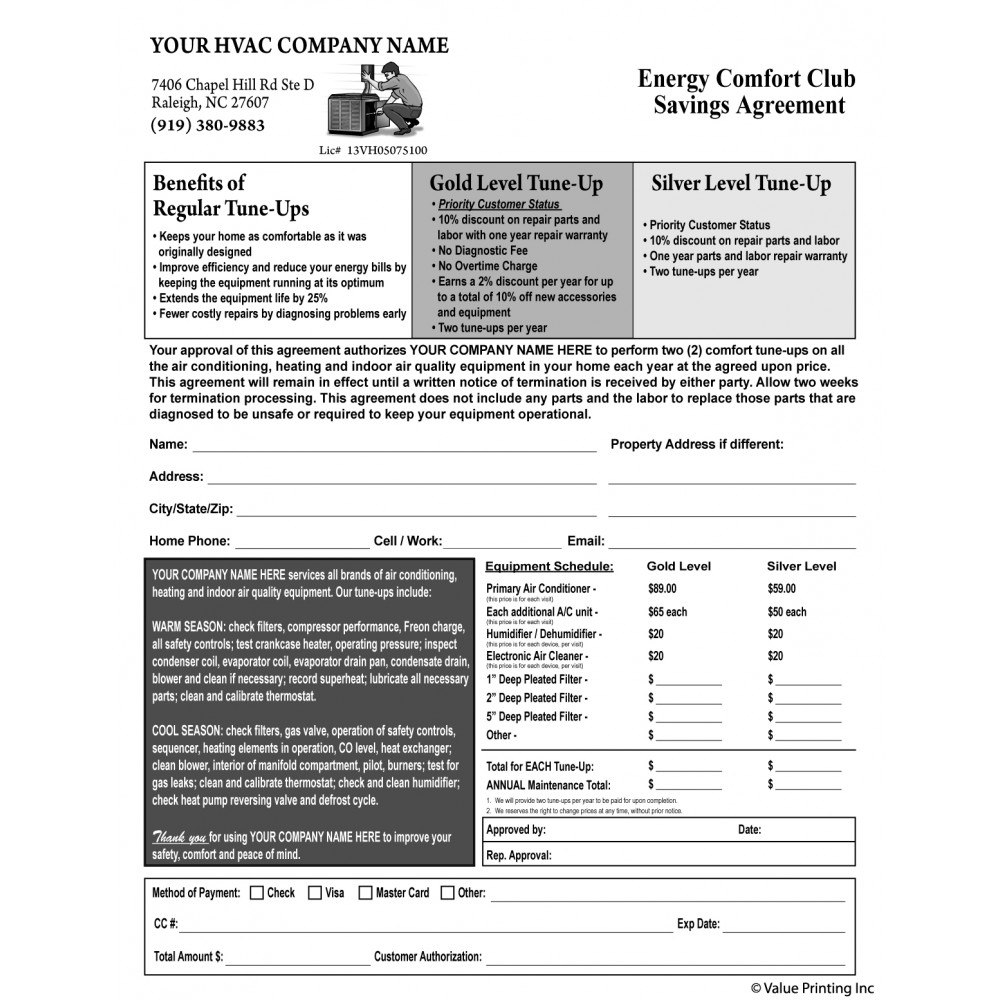 Hvac Maintenance Agreement Form Terms On Backside Hvac