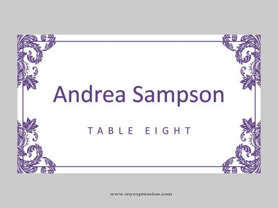 wedding place cards template folded purple damask instant download editable ms word file