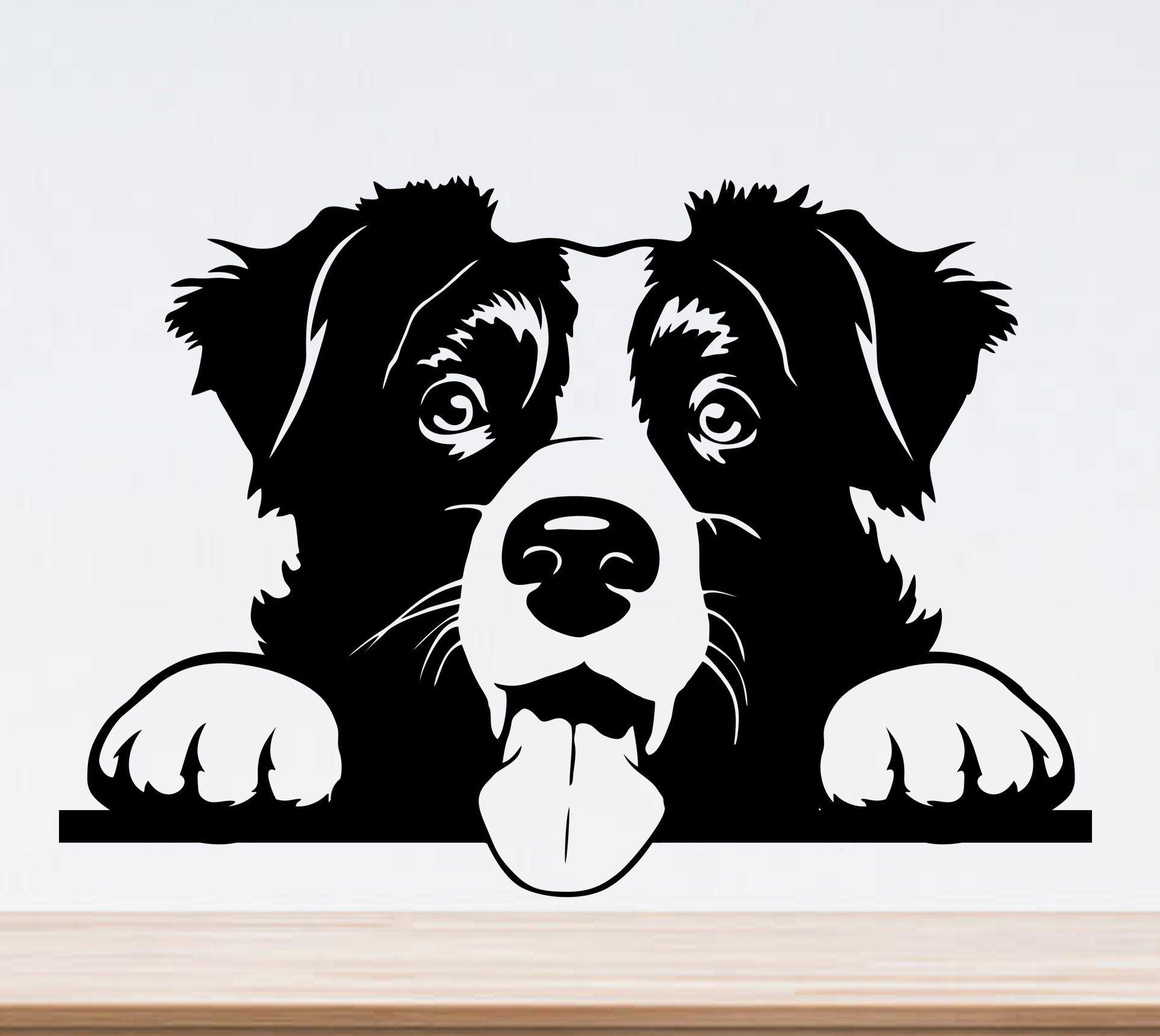 Download Cute border collie svg peeking dog svg file for cricut ...