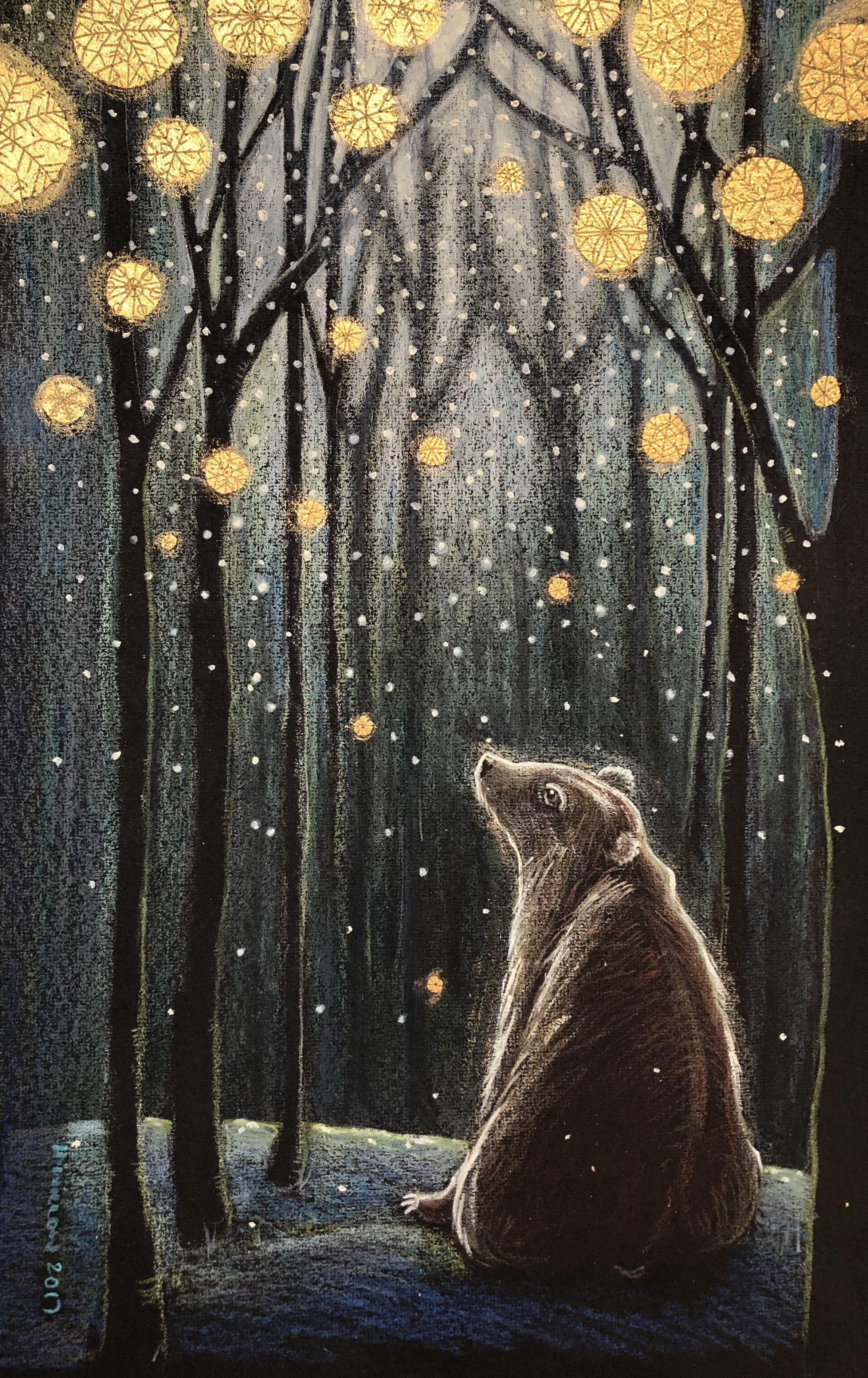 **Foretelling the Snow. Hannah Willow. Pencil, acrylic and 24ct gold.