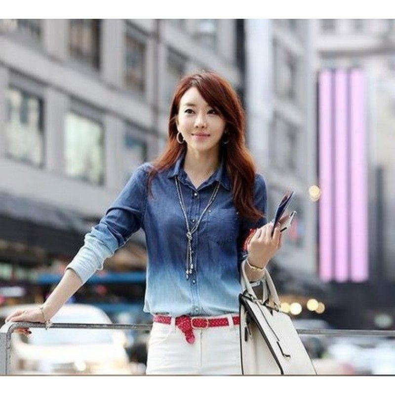 60e8a6f982 Camisa Jeans (feminina degradê manga longa) M10830