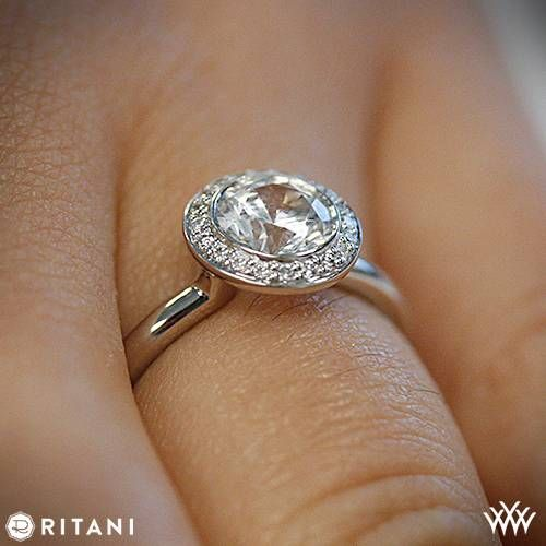 On Hand View Of Ritani Bezel Set Halo Diamond Engagement Ring RingDiamond RingsBrilliant DiamondEndless LoveRing