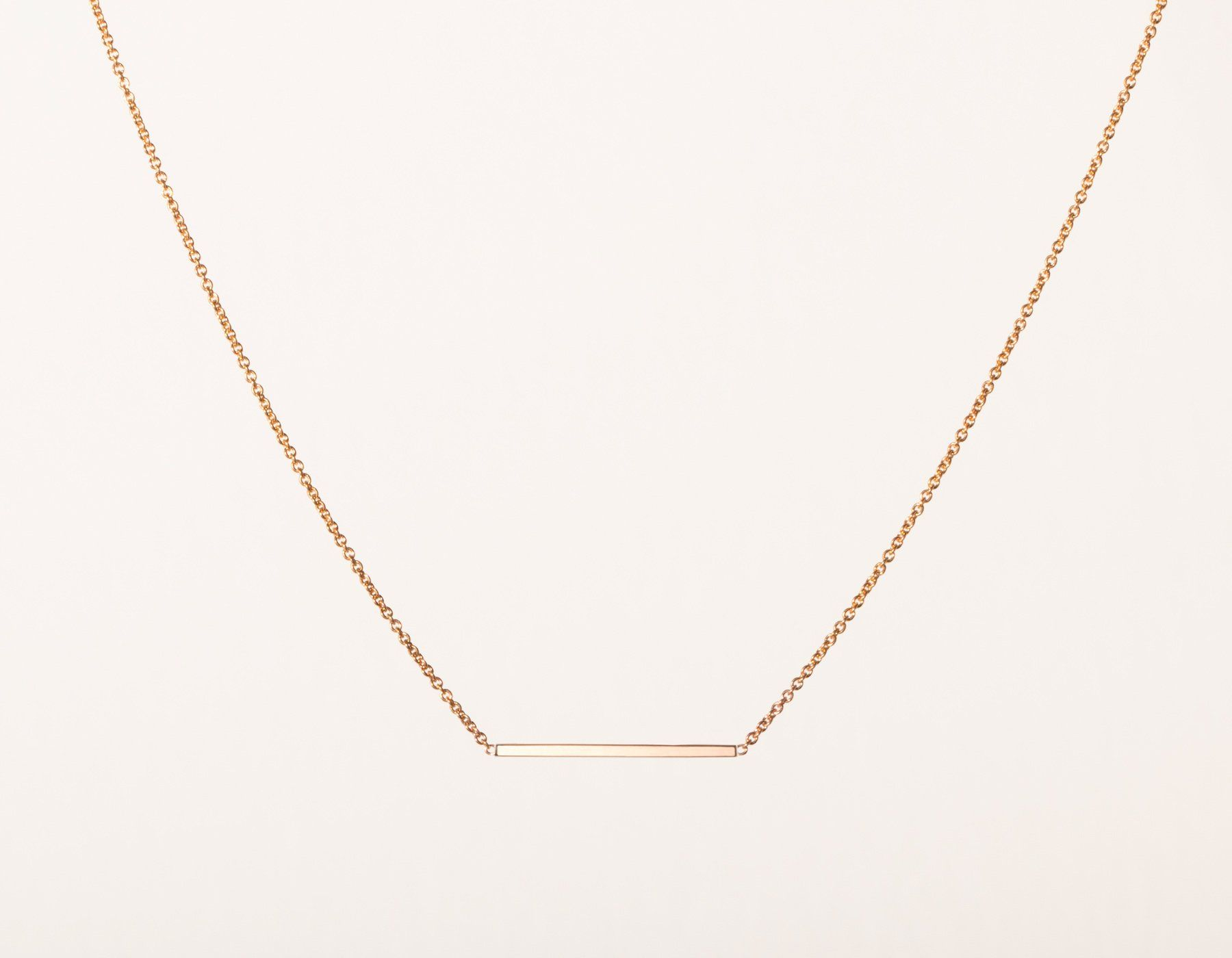 22f18b95a45 Simple classic Line Necklace 14k solid gold small rectangular bar thin chain  spring ring clasp Vrai & Oro minimalist jewelry, 14K Rose Gold