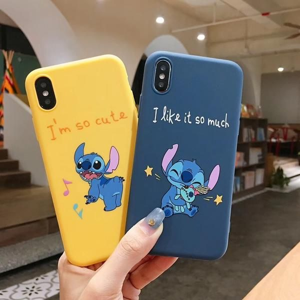 Cute cartoon happy stich phone case for iPhone Xs MAX Xr X 7 8plus 6 6splus Funny Painted Couple soft tpu cover cases Fundas