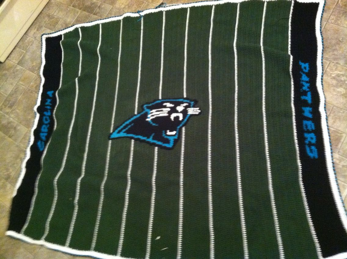 Carolina Panther football field crocheted blanket | My original ...